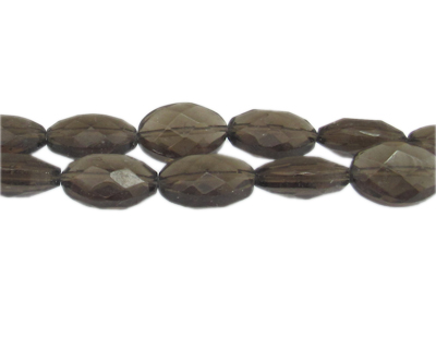 "18 x 14mm Silver Faceted Oval Glass Bead, 13"" string"