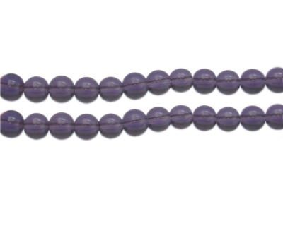 "8mm Purple Pressed Glass Bead, 13"" string"
