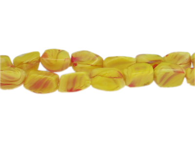 "14 x 10mm Yellow Pressed Glass Bead, 13"" string"
