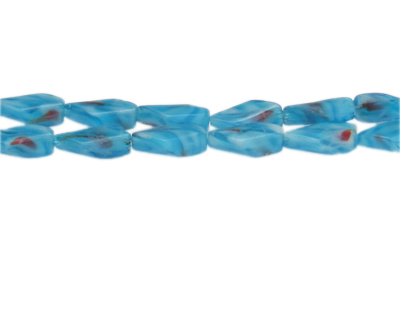 "16 x 10mm Turquoise Pressed Glass Bead, 13"" string"
