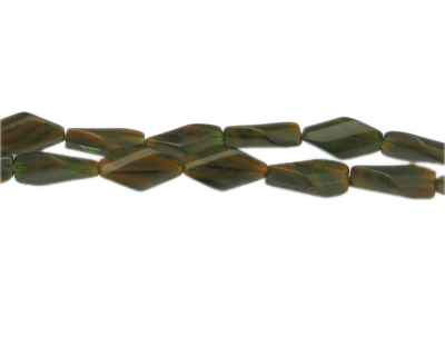 "16 x 10mm Khaki Pressed Glass Bead, 13"" string"