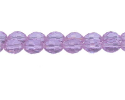 "14 x 10mm Lilac Faceted Oval Glass Bead, 13"" string"
