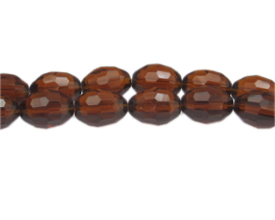 "16 x 12mm Brown Faceted Oval Glass Bead, 13"" string"