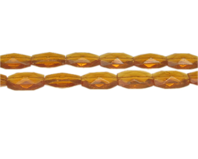 "14 x 10mm Deep Gold Faceted Rectangle Glass Bead, 13"" string"