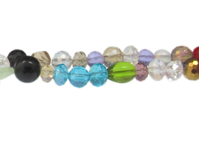 "6 - 16mm Color Faceted Mix Glass Bead, 13"" string"