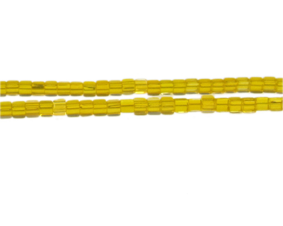 "4mm Yellow Gold Faceted Cube Glass Bead, 13"" string"
