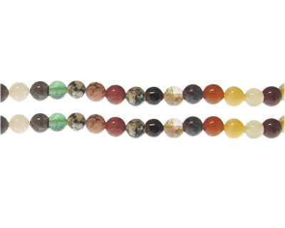 6mm Mixed Gemstone Bead, approx. 30 beads