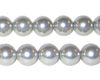 "10mm Round Silver Glass Pearl Bead, 8"" string"