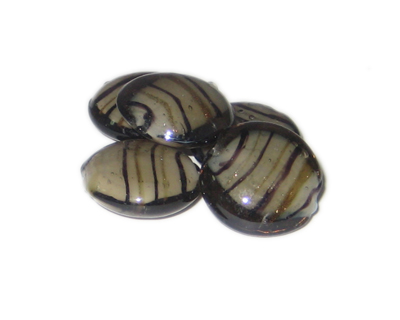 20mm Gray Stripe Handmade Lampwork Glass Bead, 5 beads - Click Image to Close