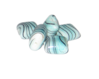 20mm Aqua Stripe Square Handmade Lampwork Glass Bead, 5 beads - Click Image to Close