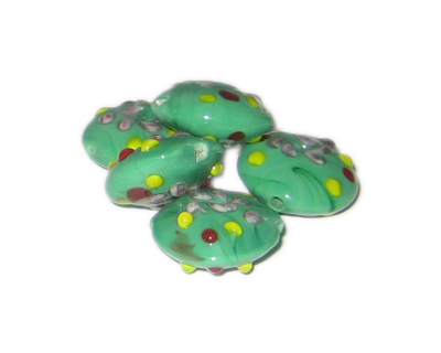 20mm Green Pattern Handmade Lampwork Glass Beads, 5 beads - Click Image to Close