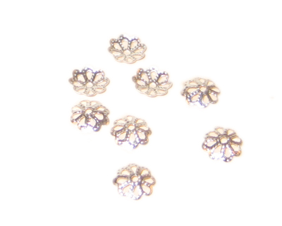 8mm Silver Filigree Bead Caps - approx. 50 caps