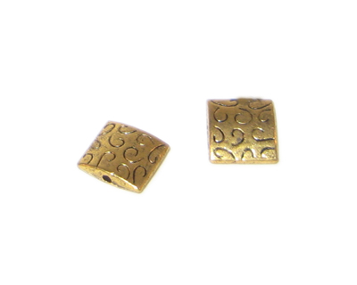 10mm Square Gold Metal Spacer Bead, 10 beads