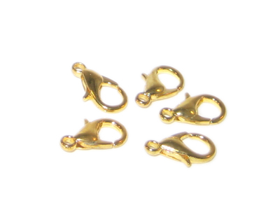 8 x 12mm Gold-Plated Lobster Clasp, 18 clasps