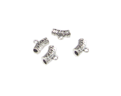 14 x 6mm Silver Metal Curved Tube with Loop, 4 tubes