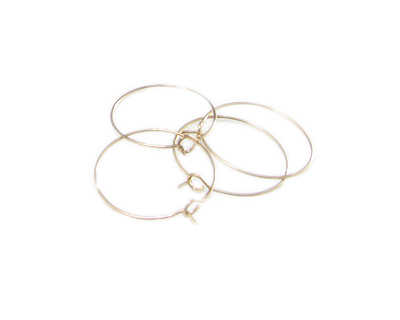 24mm Round Gold Metal Earring Hoop, 4 hoops