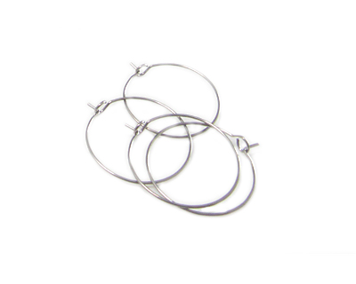 24mm Round Silver Metal Earring Hoop, 4 hoops