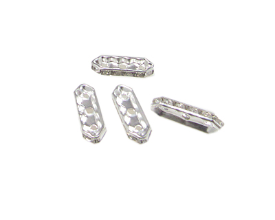 20 x 8mm Silver Metal 3-hole Rhinestone Connector, 8 connectors