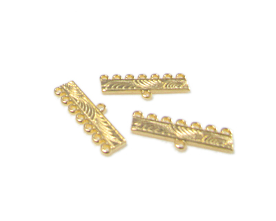 28 x 10mm Gold Metal 7-hole w/Loop Connector, 6 connectors