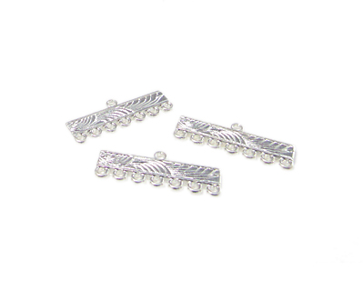 28 x 10mm Silver Metal 7-hole w/Loop Connector, 6 connectors
