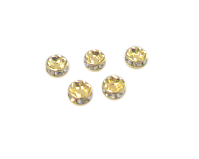 8mm Gold Metal Rhinestone Spacer Bead, 10 beads
