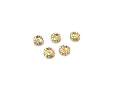 6mm Gold Metal Rhinestone Spacer Bead, 10 beads