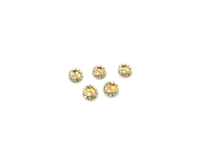4mm Gold Metal Rhinestone Spacer Bead, 10 beads