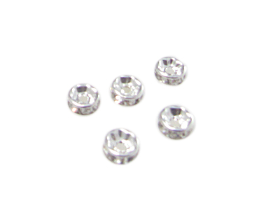 8mm Silver Metal Rhinestone Spacer Bead, 10 beads