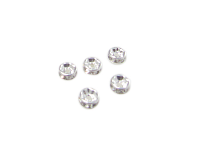 6mm Silver Metal Rhinestone Spacer Bead, 10 beads