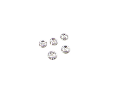 4mm Silver Metal Rhinestone Spacer Bead, 10 beads