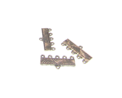 22 x 10mm Silver Metal 5-hole Connector w/ loop, 6 connectors