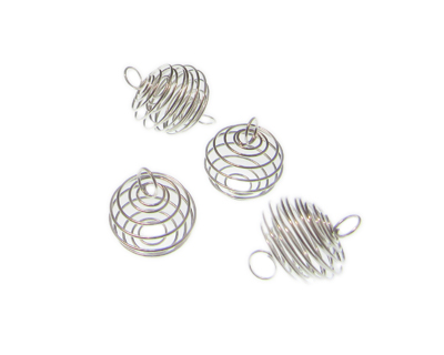 14mm Silver Metal Wire Spiral Ball Link, 4 links