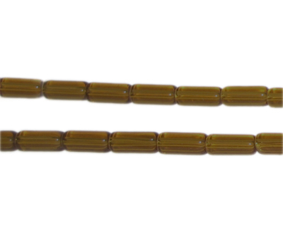 "8 x 4mm Brown Pressed Glass Tube Bead, 12"" string"