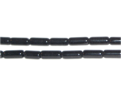 "8 x 4mm Black Pressed Glass Tube Bead, 12"" string"
