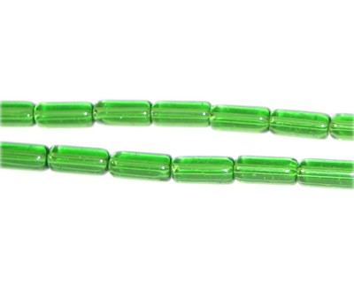 "8 x 4mm Green Pressed Glass Tube Bead, 12"" string"