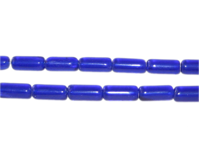 "8 x 4mm Blue Pressed Glass Tube Bead, 12"" string"