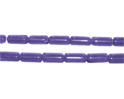 "8 x 4mm Purple Pressed Glass Tube Bead, 12"" string"