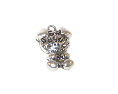 16 x 26mm Silver Pig Charm - 2 charms, fits 2mm rhinestone - Click Image to Close