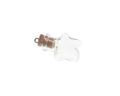 30 x 20mm Star Glass Bottle Pendant, with Cork and bail
