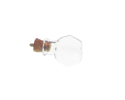 30 x 20mm Pentagon Glass Bottle Pendant, with Cork and bail