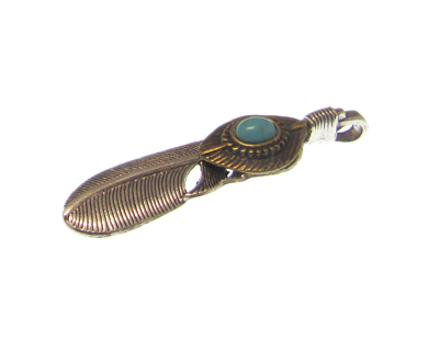 65 x 15mm Silver Feather with Turquoise Gemstone Pendant, large