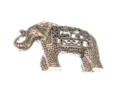 58 x 48mm Silver Ornate Elephant Pendant, large hole bail