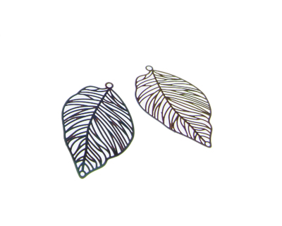 38 x 24mm Color Leaf Stainless Steel Filigree Pendant, 2 pendant