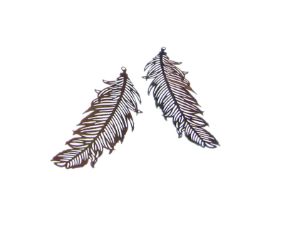 48 x 18mm Color Feather Stainless Steel Filigree Pendant, 2 pend