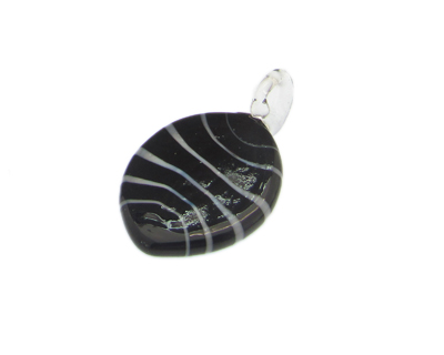 48 x 26mm Black Oval Striped Glass Pendant