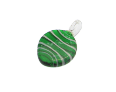 48 x 26mm Green Oval Striped Glass Pendant