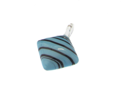 40 x 30mm Turquoise Diamond Striped Glass Pendant