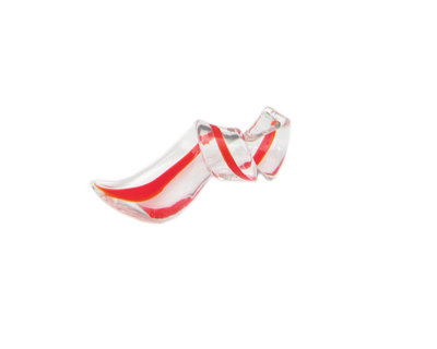 50 x 14mm Red Striped Twirl Glass Pendant