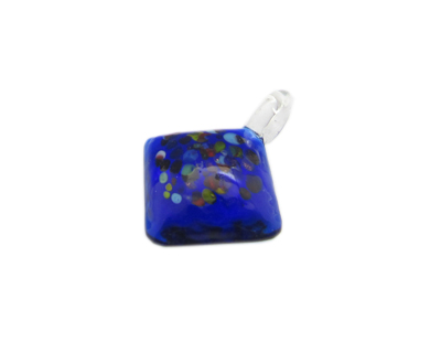 40 x 28mm Blue Spot Diamond Glass Pendant