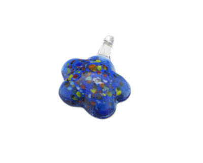 40 x 30mm Blue Flower Glass Pendant